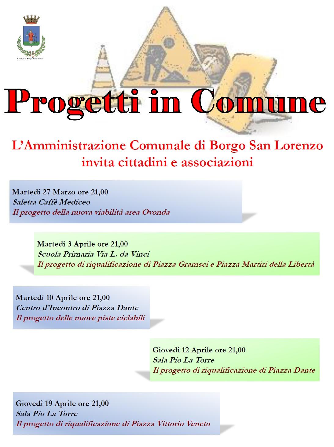 Percorso partecipativo Borgo San Lorenzo, prossimo evento martedì ore 21.00 al Centro d'Incontro