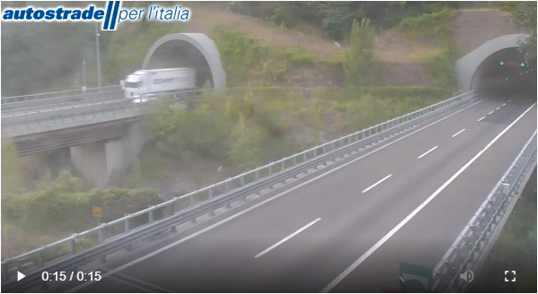 Chiuso Itinere nord direttissima (Frame da webcam Autostrade)