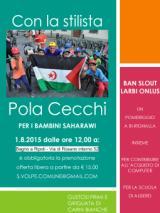 Locandina della giornata pro saharawi con la stilista Pola Cecchi