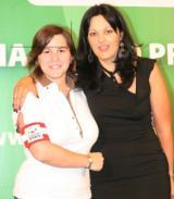 """Nella foto il """"capitano"""" delle quote rosa di Lega Pro, Alessandra Borgonovo con l'addetto stampa Lega Pro, Gaia Simonetti"""