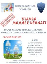 Locandina inaugurazione stanza per mamme e neonati alla Pubblica Assistenza di Tavarnuzze