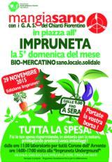 Locandina Bio-mercatino Mangiasano in piazza all'Impruneta