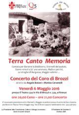 Volantino della esibizione del Coro 'Terra Canto Memoria'