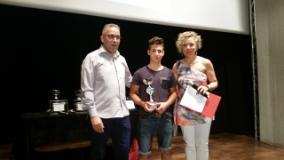 Dalla Porta alla premiazione dell'atleta dell'anno 2015 con a sinistra l'assessore Forastiero