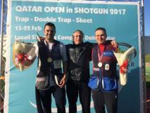 Nella foto Marco Innocenti sul podio del Qatar Open di Double Trap