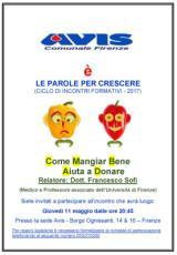 Locandina incontro ' Mangiare bene aiuta a donare il sangue'