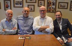 Nella foto, da sinistra: Beppe Bonardi, Roberto Valerio, Lawrence Faulkner, Piero Torricelli