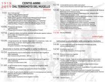 Il programma del convegno sui cento anni dal terremoto in Mugello (retro)