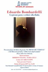 """La locandina della presentazione del libro """"Il treno che verso fa"""" del giovane poeta Bombardelli  (illustrazione da comunicato)"""